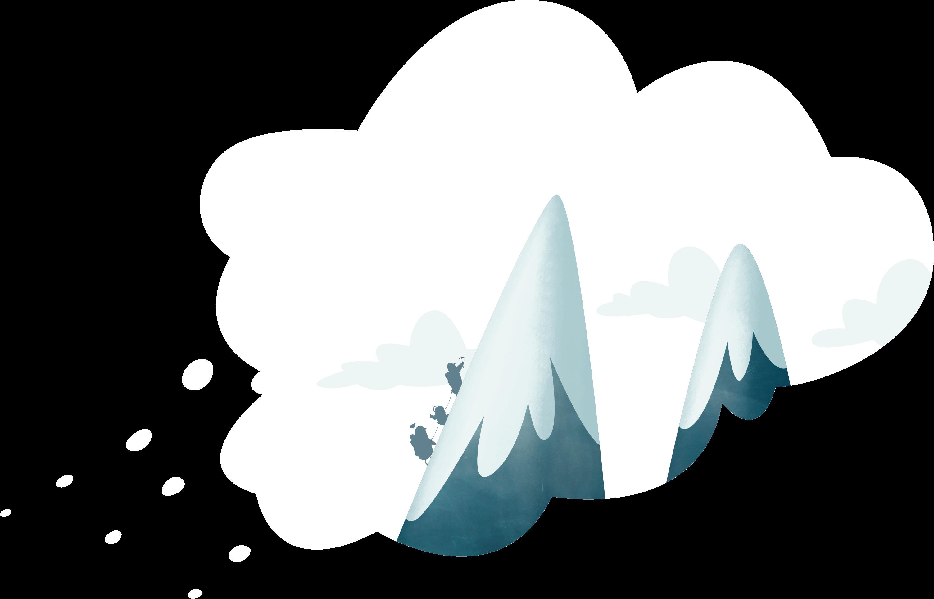 Mountain climbing thought bubble